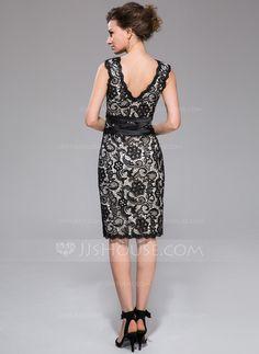 Sheath/Column V-neck Knee-Length Satin Lace Cocktail Dress (007037276)