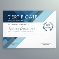 Blue certificate design in professional style Free Vector Certificate Layout, Certificate Design Template, Certificate Of Appreciation, Certificate Of Achievement, Design Azul, Free Certificates, Graphic Design Brochure, Graphic Art, Business Flyer