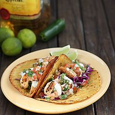 Grilled Tequila Lime Shrimp Tacos w/Chipotle Lime Mayo