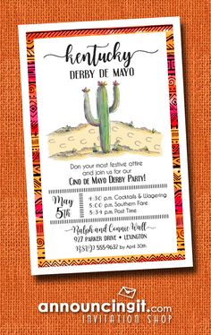 Horse shoe prints on a winding dirt path past flowering cactus are the perfect way to invite guests to your Kentucky Derby de Mayo party - that's what happens when the Kentucky Derby happens on Cinco de Mayo.  See invitations for your special occasions at Announcingit.com