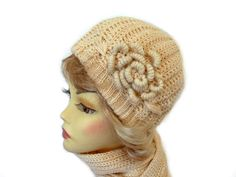 Chunky Hat and Scarf Set Beige with Flower Applique by Nikifashion
