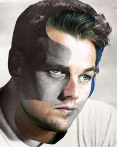 Then/Now photo manipulations by Marc Ghali. Leonardo DiCaprio/Paul Newman.