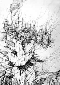 Marcin Kitala, Vertical slums, 2013, fineliner, 50x70cm.