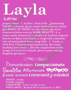 LAYLA Personalized Name Print / Typography Print / by OhBabyNames, $20.00