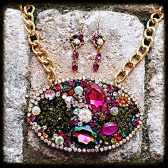 Multi Jeweled Crystal Statement Colorful  by glamourpusscouture, $75.00