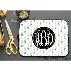 Laptop Sleeve-Stripes and Flowers Laptop Sleeve-Laptop Sleeve-Neoprene... ($28) ❤ liked on Polyvore featuring accessories, tech accessories, grey, home & living, office, office & school supplies, laptop case, laptop sleeve cases, monogrammed laptop case and neoprene laptop case