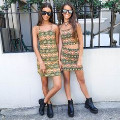 Elisha and Renee going for that Byron Bay babe vibe with the latest prints from Motel from Peppermayo.com