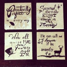 Handpainted Classic Disney Quote Coasters - Set of Four on Etsy, $17.23 AUD