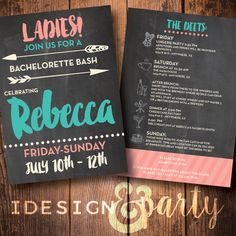 Bachelorette Party Invite - Weekend Bash by idesignandparty on Etsy