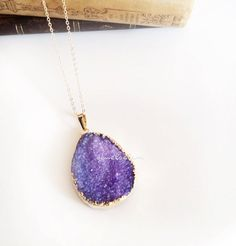Purple Druzy Necklace Geode Gemstone Gold Layered Long Drusy Mineral Pendant Rustic Statement Summer Trend Crystal Quartz Agate