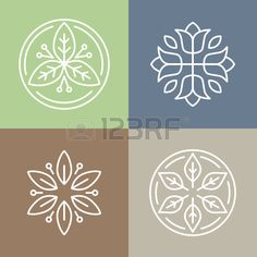 Vector floral icons and logo design templates in outline style - abstract monograms and emblems