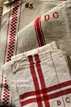 Dish Towels Set of Three.via-French dish towelsxx.via-French dish towels Ticking Fabric, Linen Fabric, Love Vintage, Vintage Linen, Red And White Kitchen, Red Cottage, French Cottage, French Country, Linens And Lace