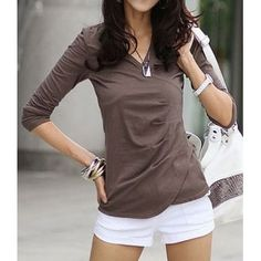 $7.43 Stylish V-Neck Long Sleeve Solid Color Cotton T-Shirt For Women