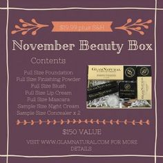 GlamNatural Beauty box - this box is an amazing value! Would recommend for anyone looking for high quality, cruelty free, natural makeup! #crueltyfree #makeup