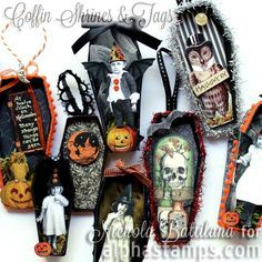 Coffin Shrines & New Halloween Papers Halloween Shadow Box, Halloween Tags, Halloween Ornaments, Halloween Prints, Halloween Ghosts, Holidays Halloween, Halloween Decorations, Halloween Tombstones, Halloween Gift Baskets