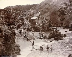 This picture shows cables being laid for a top-secret telegraph station at Porthcurno beach in Cornwall. The sleepy fishing village played an integral role as a hidden communications hub during the Second World War