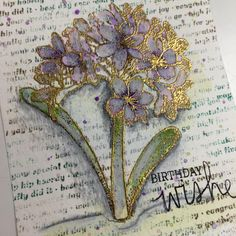 Bella ART has done it again! Check out this beautiful card made with the Agapanthus - Greenhouse Society stamp set (from Technique Tuesday)! that gold! Agapanthus Blue, La Art, Scrapbook Pages, Scrapbooking, Prismacolor, Online Art, Making Ideas, Craft Supplies, Dandelion