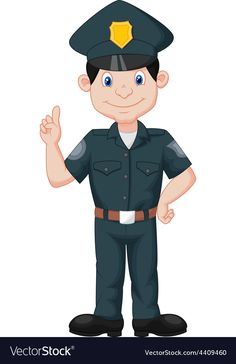 Policeman in uniform Royalty Free Vector Image Animal Activities, Infant Activities, Preschool Activities, Cartoon Kids, Cute Cartoon, Police Officer Crafts, Community Helpers Worksheets, 1st Grade Math Worksheets, Action Cards