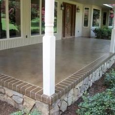 Many amazing stained and engraved concrete porches and patios. This would really change things up! Many amazing stained and engraved concrete porches and patios. This would really change things up! Gazebos, Verge, Porch Flooring, Outdoor Flooring, Flooring Ideas, Laminate Flooring, Penny Flooring, White Flooring, Garage Flooring