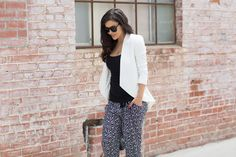 The HONEYBEE: White Blazer + Printed Pants