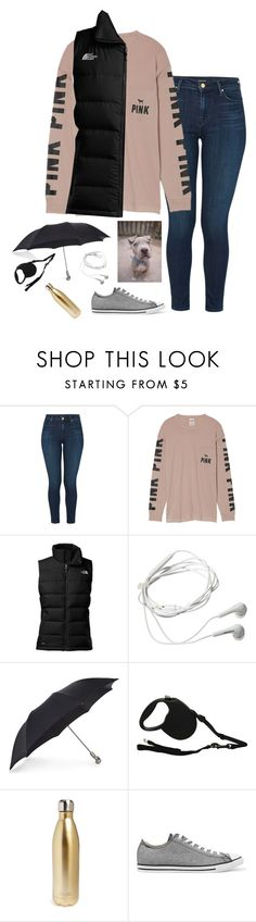 """""""break day ten: it's 62° and storming.."""" by ladzip13 ❤ liked on Polyvore featuring J Brand, Victoria's Secret, The North Face, Samsung, Alexander McQueen, S'well and Converse"""