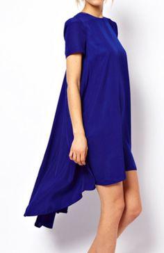 Vestido asimétrico mangas cortas-Azul