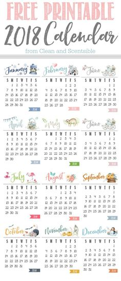 20 Free Printable Calendars for 2018 Pinterest Previous year - free calendar printable