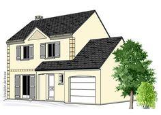 Modèle PC-27  Pavillon avec garage comprenant cuisine, séjour, hall, WC et 1 cellier au rez-de-chaussée. 3 chambres et salle de bains à l'étage.  Surface Habitable : 81,97m²