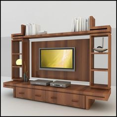 Unidad modular de madera de TV