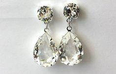 Swarovski Clear Crystal Earrings Crystal Double Drop Earrings