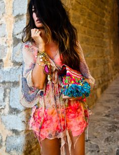summer, boho, hair, cabello  (BLOUSE Las Dalias Hippy Market, SHORTS Blanco, BRA H, SANDALS Jimmy Choo, BAG Las Dalias Hippy Market, NECKLACES Nadka)