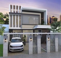 Modern two storey house concept featured has a total floor area of square meters, where 90 sq. is dedicated in the ground floor and the rest at the upper floor. Two Story House Plans, Two Story Homes, New House Plans, Villa Design, House Design, Exterior Design, Interior And Exterior, One Storey House, Modern House Floor Plans
