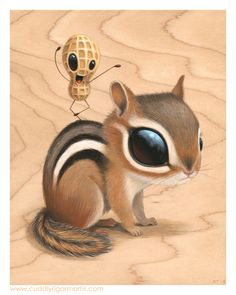 "Chippy 5.5"" x 7"" x .75"" original acrylic on maple -- SOLD For my solo at Gallery 1988 (East) - I'm Not Hungry Feb 28th through March 22nd Signed and numbered limited edition of 20 prints still available through Gallery 1988."