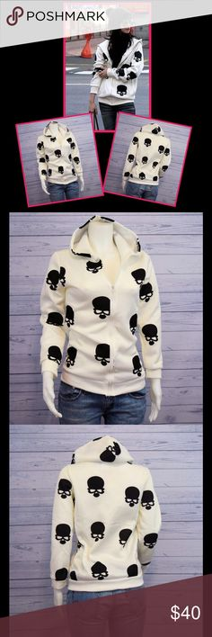 """🎈2 LEFT! Skull Print Hoodie White hoodie with black skull print. Zip closure. Cotton/polyester. Size M, L, XL. See size chart. Mannequin is 35.5"""" Bust, 26.5"""" Waist, and 38.5"""" Hips and wearing a medium. Jackets & Coats"""