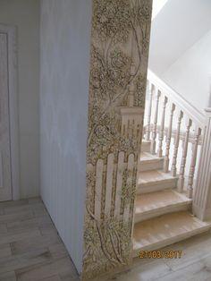 Фотография Decorative Plaster, Plaster Art, Plaster Walls, 3d Wall Art, Mural Art, Wall Murals, Room Partition Designs, Column Design, Ideas Geniales