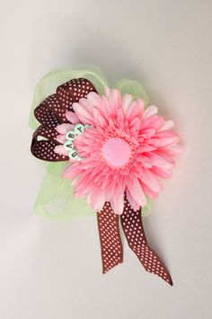 Baby Shower Bath Pouf Corsages.  Pink, mint green and brown, perfect for showers! #c57studios #babyshower #bathpouf