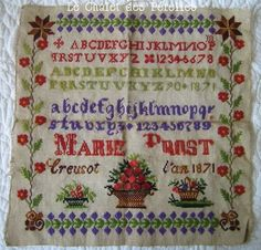 A 19th Century FRENCH Sampler Stitched By Marie Prost & Dated 1871