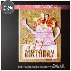 Pretty party card and pink flowers: it's sure to impress!