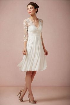 Lovely, delicate sleeves- BHLDN short wedding dress/reception dress