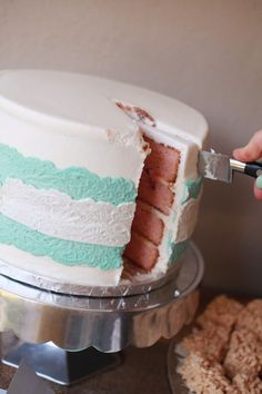 I like the lace effect on the cake, gender neutral.  Shabby Chic Baby Shower  |  Sweet T Studios