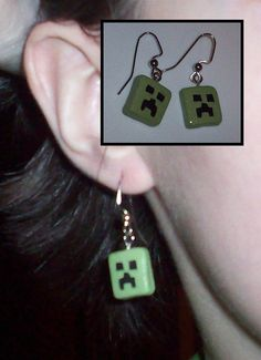 Handmade MinecraftInspired Creeper Earrings by TaliasUniqueTreats