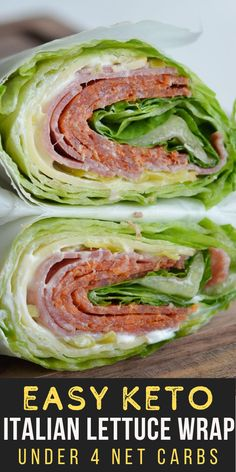 Crunchy iceberg lettuce is wrapped around thick slices of pepperoni, salami and smoked Gouda! At about 3 net carbs this Italian lettuce wrap is the ultimate low carb, keto friendly lunch!  #keto #lowcarb High Protein Recipes, Low Carb Recipes, Healthy Recipes, Yummy Recipes, Dinner Recipes, Yummy Food, Low Carb Side Dishes, Side Dishes Easy, Low Carb Lunch