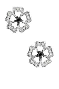 Floral earrings with black & white diamonds