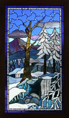 Fred Varney Stained Glass - Winter Falls in custom frame Stained Glass Quilt, Stained Glass Designs, Stained Glass Panels, Stained Glass Projects, Stained Glass Patterns, Leaded Glass, Beveled Glass, Mosaic Art, Mosaic Glass