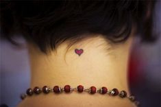 Cool Red Heart Tattoo for Back of Neck