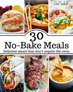 30 no bake meals Delicious and simple Meals that don't require the use of an oven. Great for hot summer months. Hot Day Dinners, Lunches And Dinners, Fast Dinners, Light Summer Meals, Easy Summer Meals, Summer Dinner Ideas, Summer Food, Healthy Summer, No Cook Meals