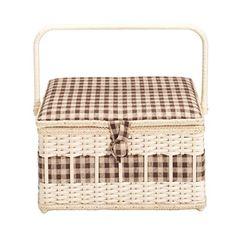 612129 Nähkorb Country Leinen braun L Prym | Sewing basket country brown L
