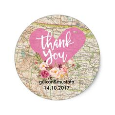 Shop Vintage Map Thank You Sticker created by HappyPartyStudio. Wedding Favor Labels, Personalized Wedding Favors, Diy Wedding Favors, Wedding Invitations, Wedding Ideas, Wedding Envelopes, Thank You Stickers, Travel Themes, Custom Stickers