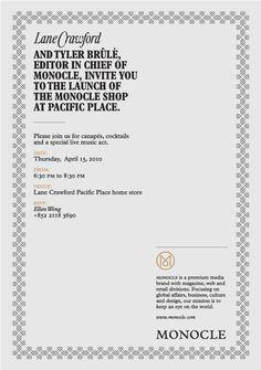 Monocle X Lane Crawford invitation