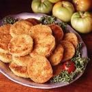 Fried Green Tomatoes   Cook: 25 min.Yield: 10 Servings   •3/4 c all-purpose flour  •3 eggs, lightly beaten  •2 c panko (Japanese) bread crumbs  •5 medium green tomatoes, cut into 1/4-inch slices  •Oil for deep-fat frying  •Salt  Directions  •In three separate shallow bowls, place the flour, eggs and bread crumbs. Dip tomatoes in flour, then eggs; coat with bread crumbs.   • Fry tomatoes, a few at a time, until golden brown. Drain on paper towels. Sprinkle with salt. Serve immediately.